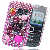 Cooltechstuff Hot Pink/Baby Pink/White Barbie Diamond Flower Hard Fitted Case Cover For Nokia C3-00 + Free Screen Protector Included