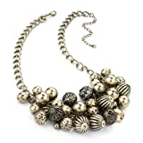 Ball Detail Choker / Collar Fashion Necklace Burnt Gold