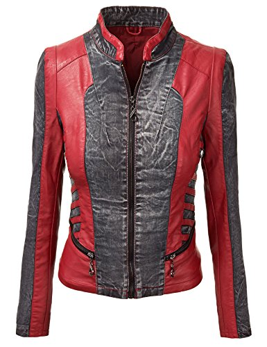 Womens Distress Denim Faux Leather and Denim Mix Jacket