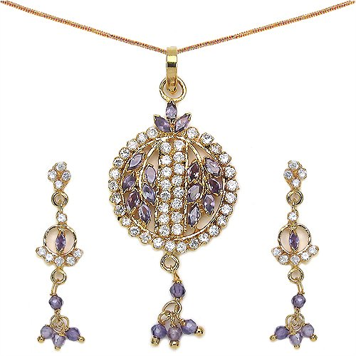 14.30 Grams Purple & White Cubic Zircon Gold Plated Pendant Set (multicolor)