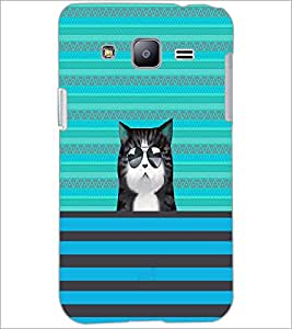 PrintDhaba Cat with Gogs D-2670 Back Case Cover for SAMSUNG GALAXY J2 (Multi-Coloured)
