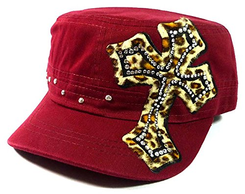 Rhinestone Cross Cheetah Cadet Hats Fashion - Burgundy Alpinestars Umbrella
