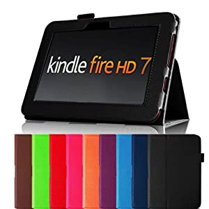 "Fintie Black Slim Fit Leather Case Cover Auto Sleep/wake For Kindle Fire HD 7"" Tablet Will Only Fit Kindle Fire HD 7"" Multiple Color Options"