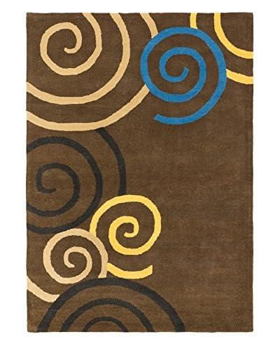 Handmade Eden Wool Rug, Dark Khaki/Grey, 5' 6 x 7' 9