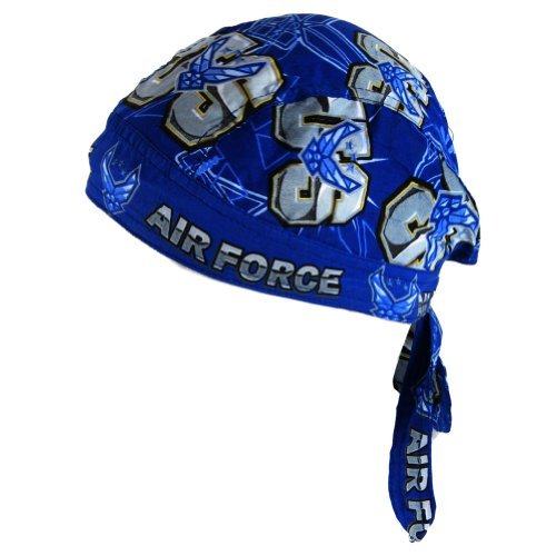 DanBanna Deluxe Air Force Bandanna Biker Head Wrap or Do Rag 100% Cotton with Terrycloth Sweatband - Blue - One Size