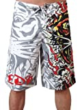 New Ed Hardy Mens Burning Tiger Poly Board Shorts Trunks (36, White)