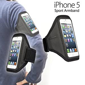 iPhone 5 5S 5th Gen Generation ArmBand Arm Band Holder Black for Exercise, Running, hiking etc TECHNOPRO®