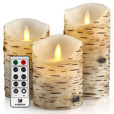 "Flameless Candles Flickering Flameless Candles with Brich Grain LED Candles Set of 4"" 5"" 6"" Battery Candles Real Wax Pillar with 10-key Remote Control - 2/4/6/8 Hours Timer comenzar"