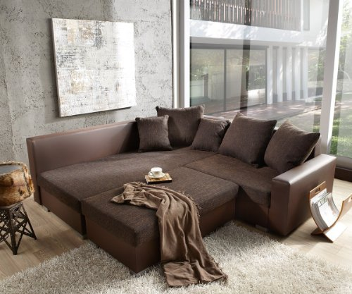 couch lavello 210x210 dunkelbraun ecksofa ottomane links mit hocker hempels sofa. Black Bedroom Furniture Sets. Home Design Ideas