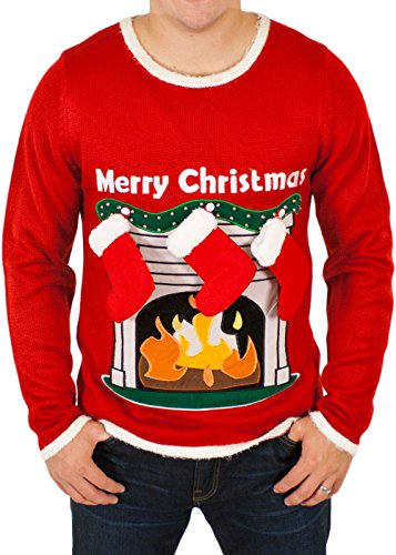 Ugly Christmas Sweater - Lighted LED Fireplace Sweater with 3-D Stockings in Red Large By Festified