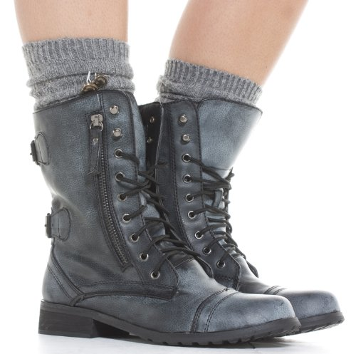 Womens Military Style Army Combat Lace up Ankle