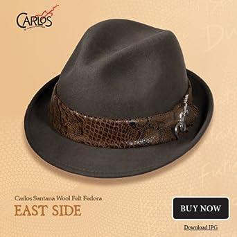 Carlos Santana East Side Fedora Hat (L/XL, Brown) at Amazon Men's