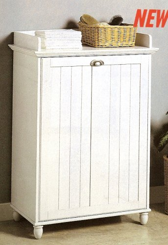 White Finish Wood Laundry Basket Hamper W Removable