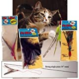 "Da Bird Super Pack (Includes 1 Da Bird Original 36"" Single Pole Cat Toy, Feather Refill, Sparkly Attachment, Kitty Puff Attachment, and Peacock Feather)"