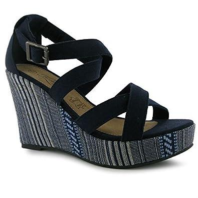 Ava Ladies Wedge Sandals Navy 4