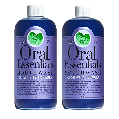 Oral Essentials Sensitive Teeth Mouthwash (Pack of 2) 16 Oz: Non-Toxic, No Harsh Chemicals, Dentist Formulated, and remineralizes sensitive teeth and roots Less Sensitivity in Two Weeks or Less (16 Hydrogen Peroxide Teeth compare prices)