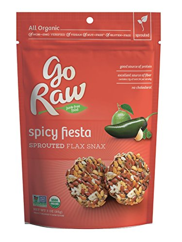 Go Raw Freeland Flax Snax, Spicy Flax Snax, 3.0-Ounce Bags (Pack of 6)