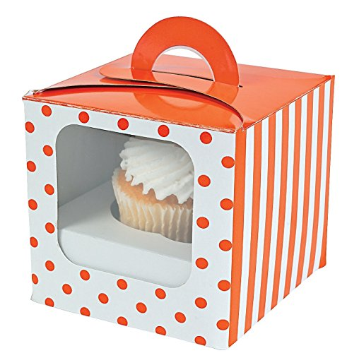Cupcake Boxes With Handles And Inserts - Orange Polka Dot - 12 Ct