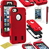 Fulland Hybrid Body Armor Silicone + Hard Case Cover for Apple iPhone 5 5S Plus Stylus Pen and Screen Protector-RED