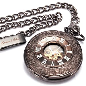 KS Skeleton Dial Vintage Pendant Unisex Steel Mechanical Fob Pocket Watch + Chain KSP004