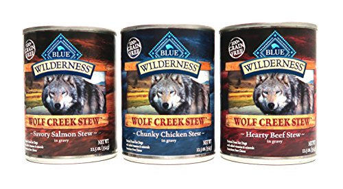Blue Buffalo Wilderness Wolf Creek Stew Dog Food Variety Pack, 3 Flavors, 6 Total Cans (Blue Buffalo Canned Puppy Food compare prices)