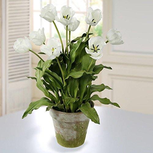 Jane Seymour White Tulips 23H in. Silk Floral Arrangement