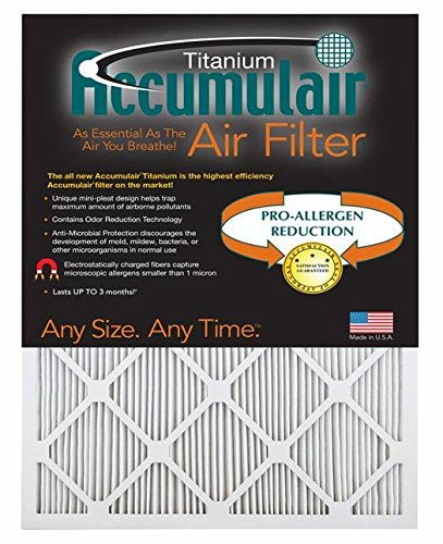 Accumulair Titanium 17x21x1 (Actual Size) High Efficiency Allergen Reduction Air Filter/Furnace Filters (2 pack) (Ac Filter 17 1 2 X 21 compare prices)