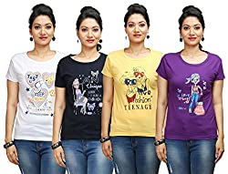 Flexicute Women's Printed Round Neck T-Shirt Combo Pack (Pack of 4)- Purple, Navy Blue, Yellow & White Color. Sizes : S-32, M-34, L-36, XL-38