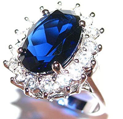 Ah! Jewellery Stunning World Class Finest SO SPARKLY Lab Diamonds Kate Middleton Engagement Ring. Surrounding An Elegant Sapphire Royal Blue 14.1mm Centre Stone. 20mm Total of 5.9gr In Weight. Rhodium Bonded. Excellent Quality.