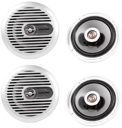 "(2) Pairs Brand New Alpine Sps-M600 6.5"" 2 Way Marine Coaxial Speakers"