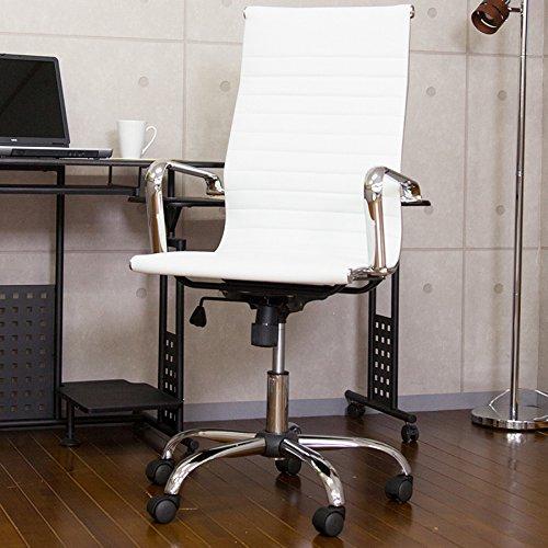 Eames デザイナーズオフィスチェアー 【アルミナム】 クラシックイームズ椅子 レザー調 ホワイト色