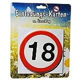 Einladungs-Karten *18* mit Umschlag zum 18. Geburtstag