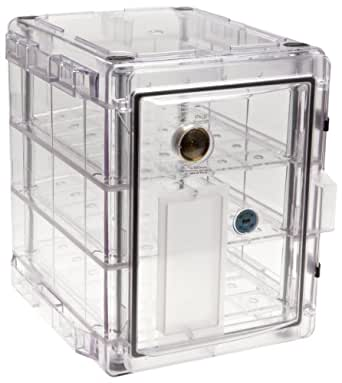 "Bel-Art Scienceware 420731000 Clear Secador 3.0 Vertical Desiccator Cabinet with 3 Shelves, 13.4"" Width x 16.4"" Height x 16.3"" Depth"