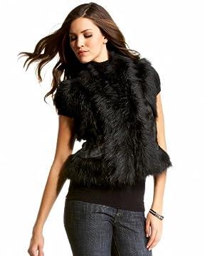 bebe.com : Ebony Faux Fur Vest :  ebony faux fur vest com faux ebony
