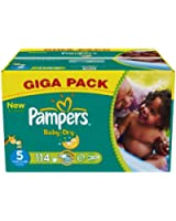 Pampers Baby Dry (Junior) Nappies Giga Pack - Size 5 (114 Nappies)