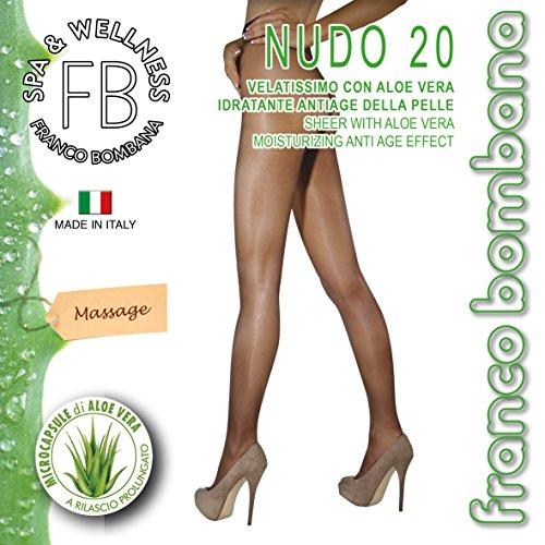 Franco Bombana Wellness COLLANT di Bellezza, Nudo 20 & Aloe Vera | Velatissimo con ALOE VERA Idratante e Antiage Della Pelle - Calze da Donna, Colore Naturel, Taglia II