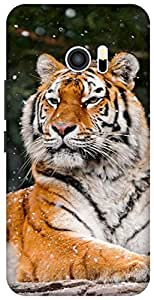 The Racoon Grip printed designer hard back mobile phone case cover for HTC 10. (snow tiger)