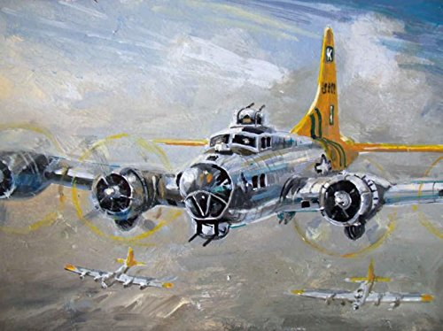 18x24 Kevin Walsh Art Print - World War 2 B-17 Flying Fortress Heading Toward Their Bombing Run on Germany