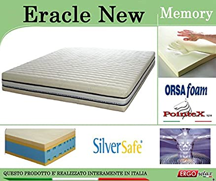 Materasso Memory Mod. Eracle New Argento Sfoderabile Traspirante Altezza Cm. 24 - ErgoRelax - matrimoniale - 160 cm x 200 cm