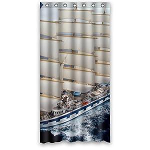 36 x 72 popular bath sailing boat sailboat bathroom shower curtain home kitchen. Black Bedroom Furniture Sets. Home Design Ideas