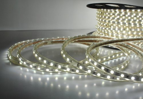 Cool White 120V Power 5050 Tri-Chip Bigger Smd Home Residential / Club Led Strip Rope Light - 65 Feet Ft
