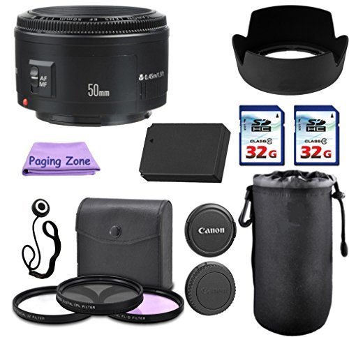 Canon 50mm f/1.8 II Camera Lens. PagingZone Deluxe Kit. 3Piece Filter Set + Lens Case + Lens Hood + 2 PC 32GB Class 10 Card + For EOS 6D, 70D, 5D MK II III, T3, T3i, T4i, T5, T5i, SL1. (Canon Sx 50 compare prices)