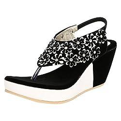 GRACETOP Women's Black Velvet Fashion Sandals - 41