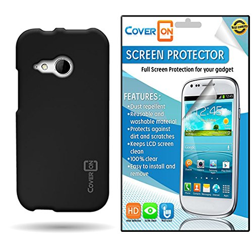 Coveron® Htc One Remix / Mini 2 Hard Rubberized Slim Case Cover Bundle With Clear Anti-Glare Lcd Screen Protector - Black