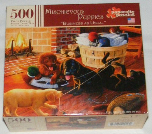 Mischievous Puppies 500 Piece Jigsaw Puzzle - Business As Usual