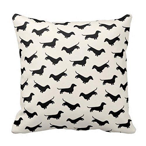 Dachshund Weiner Dog Pattern in Black Throw Pillow Cover