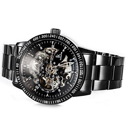 Alienwork IK mechanische Automatik Armbanduhr Skelett Automatikuhr Uhr schwarz Edelstahl 98226G-A 3