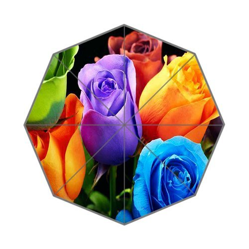 "Anhome Green Blue Red Orange Purple Rose Beautiful Colorful Auto Folding Foldable Umbrella 25.6""X 21.7""X 13.8"" front-1003633"
