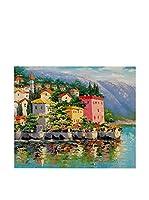ZARTE DAL MONDO Pintura al Óleo sobre Lienzo Riflessione Del Lago Di Como