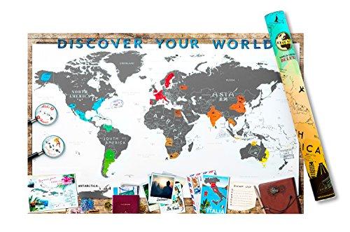 Abrasive mappa Deluxe mappa del mondo, in alluminio, colore: bianco